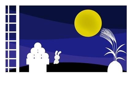 月見をするウサギ